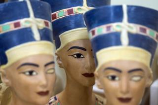 Half-finished replicas statues of Queen Nefertiti pictured at a workshop in Cairo, Egypt - Monday 27 January 2020