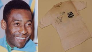 Pele and the signed Santos Shirt