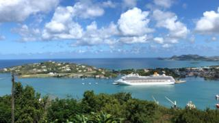 Cruise ship seen on Castries Port, Saint Lucia on 6 February 2019