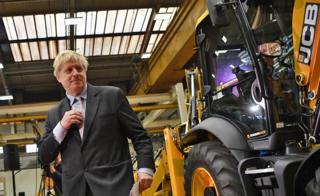 Boris Johnson at JCB's headquarters in Staffordshire