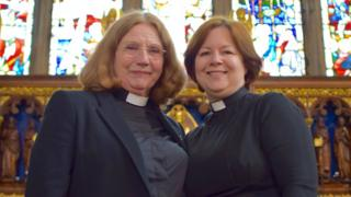 Anglesey clerics Angela Williams and Tracy Jones in Bangor Cathedral