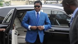 "This file photo taken on June 24, 2013 shows Teodoro (aka Teodorin) Nguema Obiang Mongue, the son of Equatorial Guinea""s president, arriving at Malabo stadium for ceremonies to celebrate his birthday."