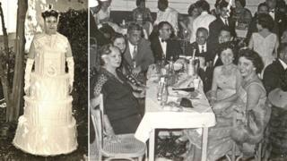 A picture of a woman in wedding-cake fancy dress and a party night