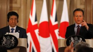 Japanese Prime Minister Shinzo Abe and Prime Minister David Cameron