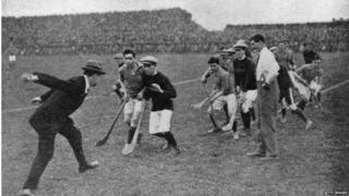 Michael Collins at a hurling match in 1921