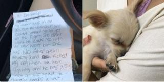 Left: the note Chewy was left with. Right: Chewy being held by a person