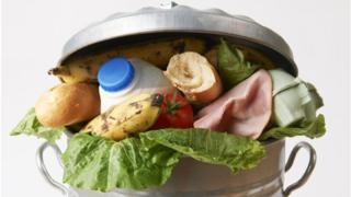 A bin full of food waste