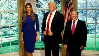Mr Spicer visited wax figures of Mr Trump and the First Lady at Madame Tussauds in New York last April