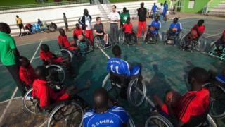 11 Jan, South Sudanese basketball wheelchair players train at the Juba Basketball Court