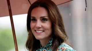Catherine, Duchess of Cambridge is seen during a visit to The Sunken Garden at Kensington Palace on August 30, 2017