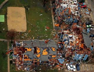 Aerial footage of tornado damage in the Garland area, 27 Dec