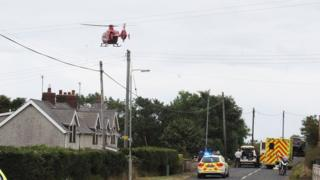 The man in his 50s was airlifted to the Royal Victoria Hospital after the crash near Ballycasle