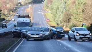 Scene of Tuesday's accident on A9