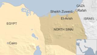 Map of Egypt showing location of Sheikh Zuweid