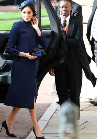 The duchess arriving at the wedding of Princess Eugenie