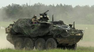 Armoured vehicle in Nato Puma-17 military exercise in Orzysz, Poland, 26 May 17