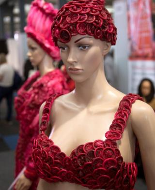 Clothing made from condoms are on display at the International Aids Conference in Durban, South Africa - Monday 18 July 2016