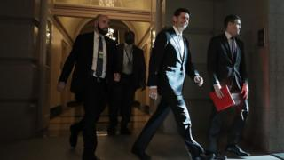 Speaker of the House Paul Ryan (R-WI) arrives for a House Republican conference meeting at the U.S. Capitol November 16, 2017 in Washington, DC.