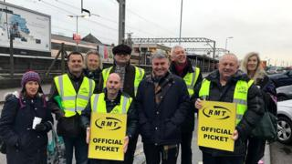 Mick Cash and RMT members in Colchester