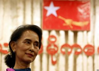 Myanmar opposition leader Aung San Suu Kyi attends a ceremony in celebration of her 70th birthday at the Royal Garden restaurant in Yangon, Myanmar, 21 June 2015