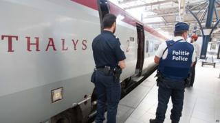 Belgian and French police next to Thalys train at Brussels. 22 Aug 2015