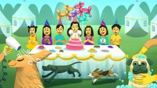 Ilustración de una fiesta de cumpleaños