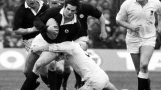 John Beattie representing Scotland at the Five Nations in 1980