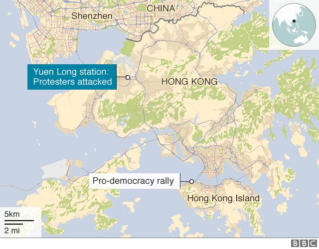 Map showing the station where protesters were attacked as well as pro-democracy protest site