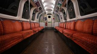 An empty carriage on Glasgow subway