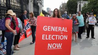 A protester in Westminster holds a placard reading 'general election now'