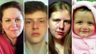 The victims were (from left) Denise Gossett, her son Roman, daughter Sabrina and granddaughter Morgana