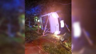 A crashed Peugeot van in Newtown