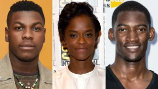 L to R: John Boyega, Letitia Wright and Malachi Kirby