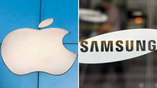 Logos de Apple y Samsung.