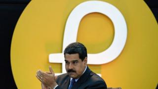 Venezuelan President Nicolas Maduro at a launch of Petro crypto-currency in Caracas. Photo: 20 February 2018