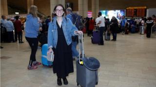 US student Lara Alqasem walks at the Ben Gurion international airport terminal in Lod, near Tel Aviv on 18 October