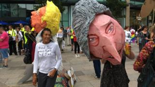 Donald Trump protesters in Cardiff