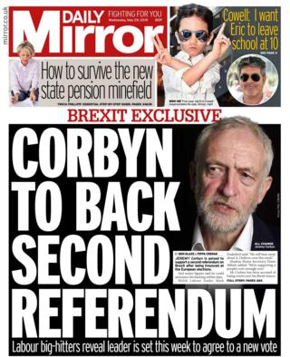 Wednesday's Daily Mirror front page
