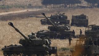 تانک های اسرائیلی مستقرشده در نزدیکی مرز