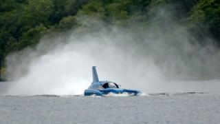 Bluebird running across Loch Fad on the Isle of Bute
