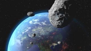 Asteroide cerca de la Tierra (ilustración)