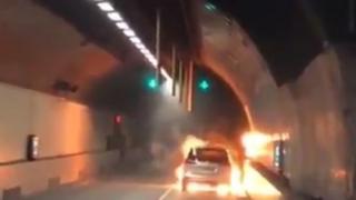 Car on fire inside Blackwall Tunnel