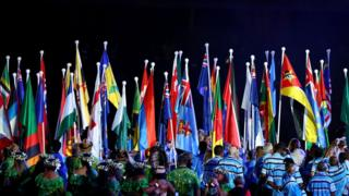 The flags of the Commonwealth countries on display.