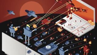 Ilustração mostra disputa entre dois laptops e robôs