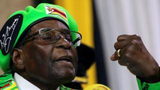 Zimbabwean President Robert Mugabe addresses a meeting of his ruling ZANU PF party's youth league in Harare, Zimbabwe, October 7, 2017
