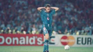 Gareth Southgate reacts after missing his penalty during the penalty shoot out.