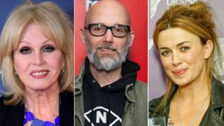 Joanna Lumley (L), Moby (C) and Eve Myles (R) are in the Hay festival line-up