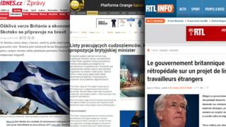 Combo picture of screen-grabs from European media websites