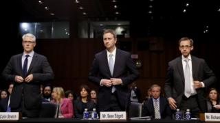Colin Stretch, general counsel for Facebook (L), Sean Edgett, acting general counsel for Twitter (C) and Richard Salgado (R), director of law enforcement and information security at Google, testify before the Senate Judiciary committee.