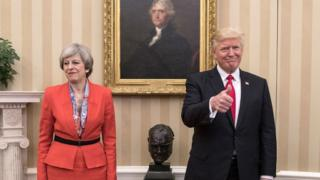 Theresa May and Donald Trump meet in the White House.